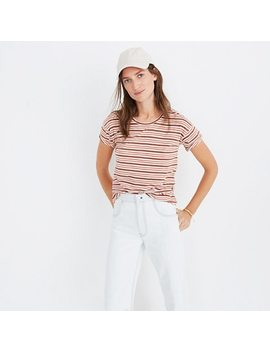 Whisper Cotton Crewneck Tee In Cordoba Stripe by Madewell