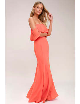 All My Heart Coral Pink Off The Shoulder Maxi Dress by Lulus
