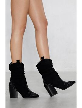 Ruche To The Top Vegan Suede Boot by Nasty Gal