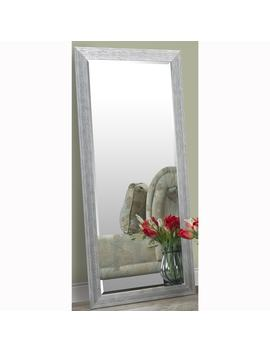 Silver Full Length Leaner Floor Mirror With Faux Wood Grain Frame by Generic