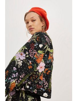 Moto Floral Crystal Denim Jacket by Topshop