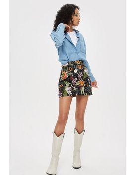 Moto Floral Crystal Denim Skirt by Topshop