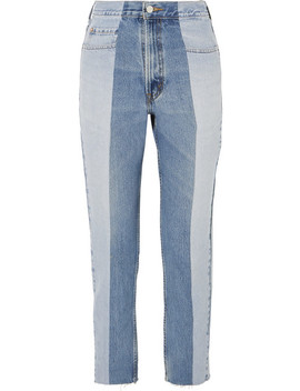 The Twin Two Tone High Rise Straight Leg Jeans by E.L.V. Denim