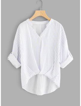 Rolled Up Sleeve Striped Dip Hem Blouse by Shein