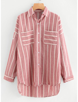 Striped Dip Hem Shirt With Chest Pocket by Sheinside