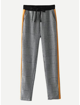 Glen Plaid Tapered Pants by Sheinside