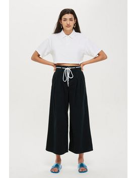 Moto Wash Black Pleated Crop Jeans by Topshop