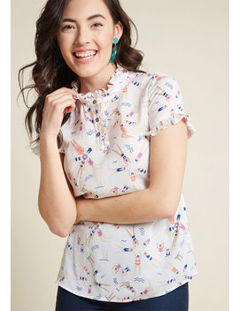 Form Of Flattery Ruffled Blouse In Xs Form Of Flattery Ruffled Blouse In Xs by Modcloth