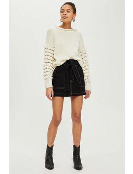 Petite Belted Denim Skirt by Topshop