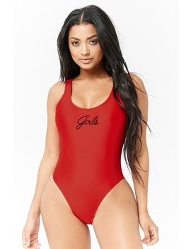 Girls Graphic One Piece Swimsuit by F21 Contemporary
