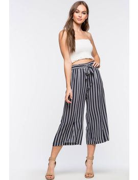 Stripe Off Tie Front Culottes by A'gaci