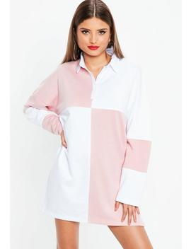 White Rugby Colorblock Shirt Dress by Missguided