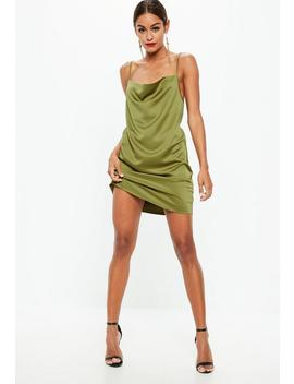 Khaki Satin Crepe Back Strappy Cowl Shift Dress by Missguided