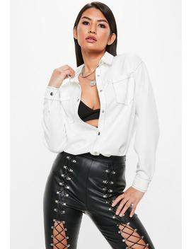 White Long Sleeve Contrast Stitch Shirt by Missguided