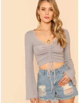Bell Sleeve Drawstring Crop Top by Shein