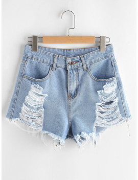 Distressed Frayed Hem Denim Shorts by Sheinside