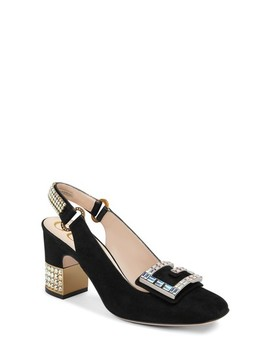 Madelyn Crystal Embellished Slingback Pump by Gucci