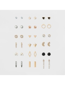 Women's Earring Set Eighteen Pair With Geometric Shape And Stones   Gold by Target