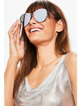 Quay Australia X Missguided Black/Purple Revo Sunglasses by Missguided