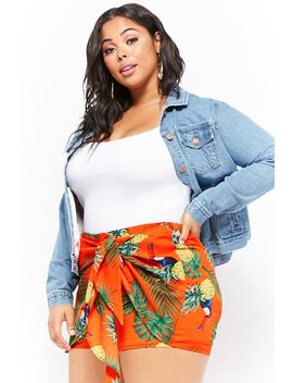 Plus Size Mock Wrap Toucan Print Shorts by Forever 21