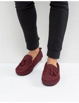 Dunlop Tassel Slippers In Burgundy Suede by Asos Brand