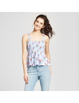 Women's Floral Smocked Tank Top   Mossimo Supply Co.™ Blue by Mossimo Supply Co.