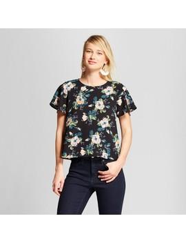 Women's Floral Print Short Sleeve Woven T Shirt   Xhilaration™ Black by Xhilaration™