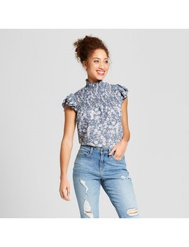 Women's Floral Print Mock Neck Smocked Flutter Sleeve Top   3 Hearts (Juniors') Blue by 3 Hearts
