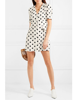 Laura Polka Dot Crepe Mini Dress by Rixo London