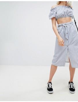 Pull&Bear Button Detail Midi Skirt In Stripe by Pull&Bear