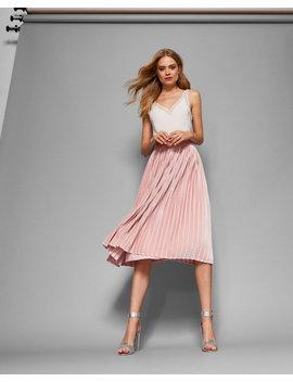 Pleated Velvet Midi Skirt by Ted Baker