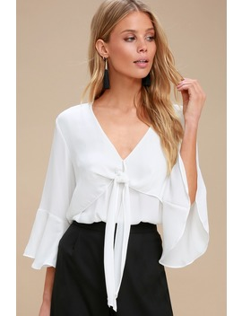 Elmira White Tie Front Flounce Sleeve Top by Lush