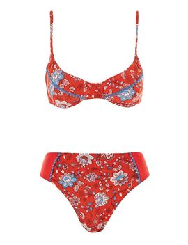 Lucia Floral Tie Side Bikini Set By Mink Pink by Topshop