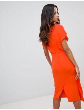 Asos Design Twist Midi Dress With Kimono Sleeve by Asos Design