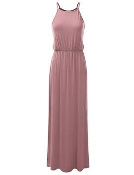 Doublju Stretchy Side Slit Halter Neck Maxi Dress For Women With Plus Size (Made In Usa) by Doublju