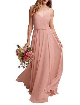 Thalia Dress Chiffon Long Spaghetti Straps V Neck Bridesmaid Dress Summer Party Gown T097 Lf by Thalia Dress
