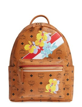 Small Stark Floral Print Coated Canvas Backpack by Mcm