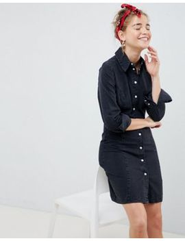 Asos Design Denim Fitted Western Shirt Dress In Washed Black by Asos Design
