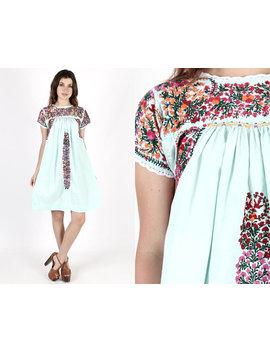 Oaxacan Dress Mexican Dress Fiesta Dress Bridesmaids Dress Cinco De Mayo Vintage 70s Mint Floral Hand Embroidered Ethnic Boho Mini Dress by Etsy