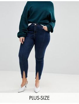River Island Plus Amelie Split Front Skinny Jeans by River Island Plus