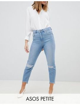 Asos Design Petite Farleigh High Waist Slim Mom Jeans In Zaliki Light Vintage Wash With Busted Knee And Rip & Repair by Asos Design