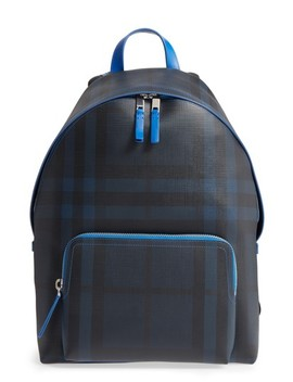 Check Faux Leather Backpack by Burberry