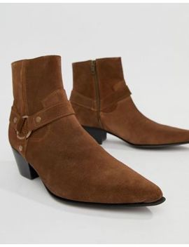 asos-design-cuban-chelsea-boots-in-tan-suede-with-buckle-detail by asos-design
