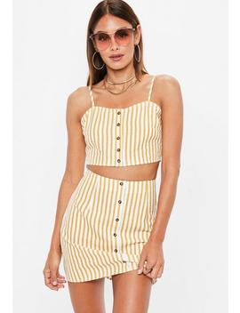 Mustard Yellow Button Front Stripe Co Ord Top by Missguided