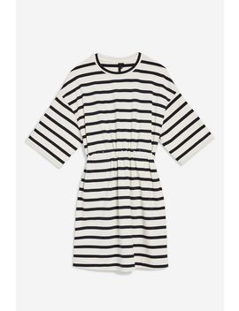 **Striped Drawcord T Shirt Dress By Boutique by Topshop
