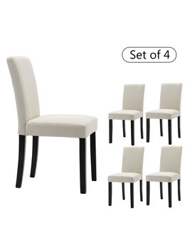 Lssbought Set Of 4 Classic Fabric Dining Chairs Dining Room Chair With Solid Wood Legs, Beige by Lssbought