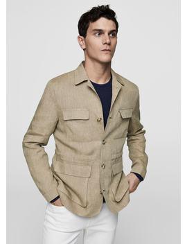 Striped Linen Field Jacket by Mango