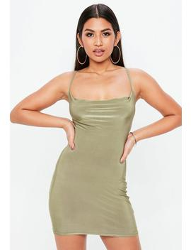 Petite Green Slinky Cowl Dress by Missguided