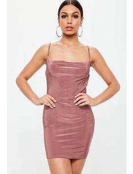 Petite Pink Slinky Cowl Neck Mini Dress by Missguided