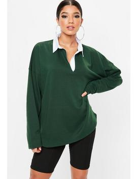 Green Oversized Rugby Top by Missguided